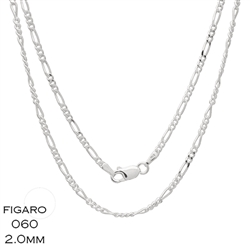Figaro 060 2.0mm Gauge Chain Necklace