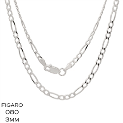 Figaro 080 3.0mm Gauge Chain Necklace