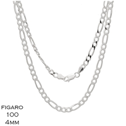 Figaro 100 4.0mm Gauge Chain Necklace