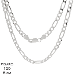 Figaro 120 5.0mm Gauge Chain Necklace