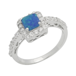 Princess Cut Lab Created Blue Opal & CZ Fashion .925 Sterling Silver Ring