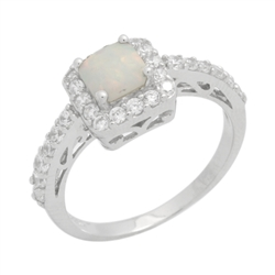 Princess Cut Lab Created White Opal & CZ Fashion .925 Sterling Silver Ring