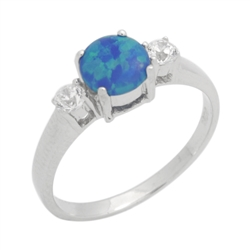 Sterling Silver 7mm Round Blue Lab Opal Accent CZ Promise Ring