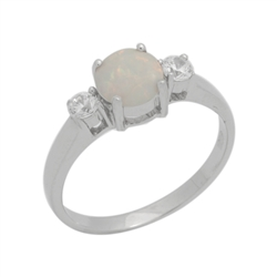 Sterling Silver 7mm Round White Lab Opal Accent CZ Promise Ring