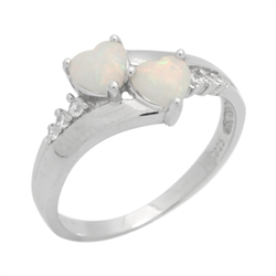 Sterling Silver Twin Hearts Lab Created White Opal Ring .925