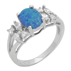 Sterling Silver 9mm Oval Lab Created Blue Opal Ring .925