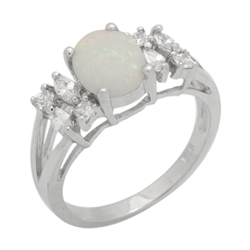 Sterling Silver 9mm Oval Lab Created White Opal Ring .925