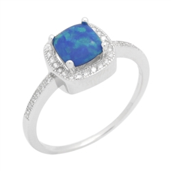 Sterling Silver Princess Cut Lab Created Blue Opal & Cz Ring