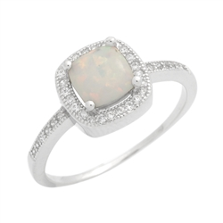 Sterling Silver Princess Cut Lab Created White Opal & Cz Ring