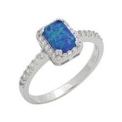 7mm Emerald-Cut Lab Blue Opal Halo Womens Ring Sterling Silver .925 Stamped