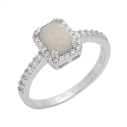 7mm Emerald-Cut Lab White Opal Halo Womens Ring Sterling Silver .925 Stamped