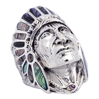 ICR101-AB Silver Indian Head Ring Abalone