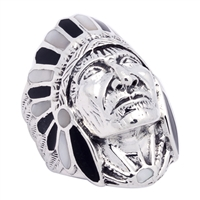 ICR101-BW Silver Indian Head Ring Black & White