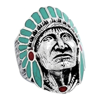 ICR101-GR Silver Indian Head Ring Green Turquoise