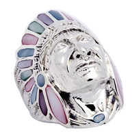 ICR101-MU Silver Indian Head Ring MultiColor