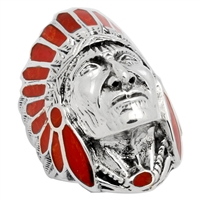 ICR101-RE Silver Indian Head Ring Red Carnelian
