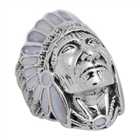 ICR101-WH Silver Indian Head Ring White MOP