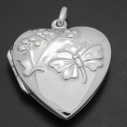 LPS1001 - Silver Dragonfly Heart Locket