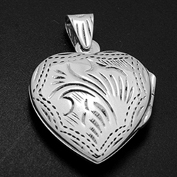 LPS1008 - Silver heart Engraved Locket