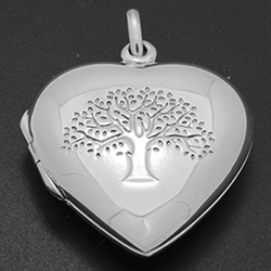 LPS1009 - Silver heart Engraved Tree of Life Locket