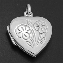 LPS1016 - Silver Heart Flower Locket