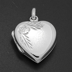 LPS1018 - Silver Small Heart Engraved Edge Locket