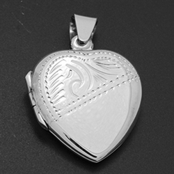 LPS1019 - Silver Small Heart Diagonal Engraved Locket