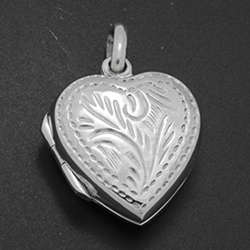 LPS1020 - Silver Heart Engraved Locket