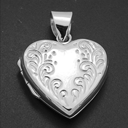 LPS1021 - Silver Heart Engraved Locket