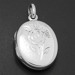 LPS1023 - Silver Oval Flower Locket