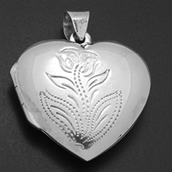 LPS1024 - Silver Heart Flower Engraved Locket
