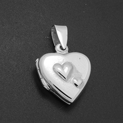 LPS1030 - Silver Small Double Heart Mom Locket