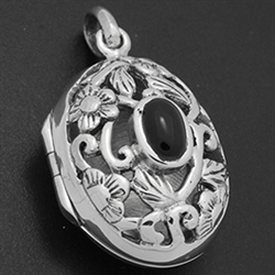 LPS1032 - Silver Black Onyx Filigree Oval Locket