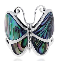 M-R1001-AB Silver Abalone Butterfly Ring