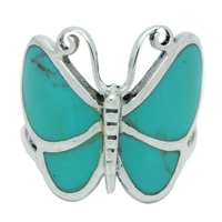 M-R1001-GT Silver Green Turquoise Butterfly Ring