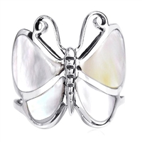 M-R1001-MP Silver White MOP Butterfly Ring