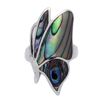 M-R1002-AB Silver Abalone Sideways Butterfly Ring