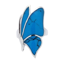 M-R1002-BT Silver Blue Turquoise Sideways Butterfly Ring