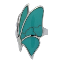 M-R1002-GT Silver Green Turquoise Sideways Butterfly Ring