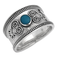 M-R1003-BT Silver Blue Turquoise Bali Style Band Ring