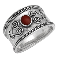M-R1003-RC Silver Red Coral Bali Style Band Ring
