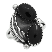 M-R1005-BO Silver Black Onyx feather Design Ring 16mm