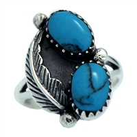 M-R1005-BT Silver Blue Turquoise feather Design Ring 16mm