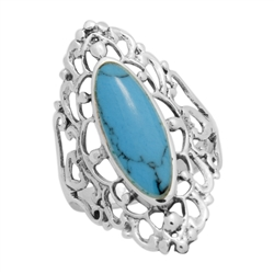 M-R1007-BT Silver Blue Turquoise Long Filigree Ring