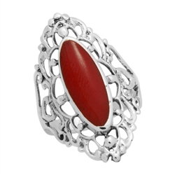 M-R1007-RC Silver Red Coral Long Filigree Ring