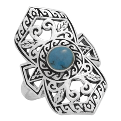 M-R1008-BT Silver Blue Turquoise Long Filigree Ring