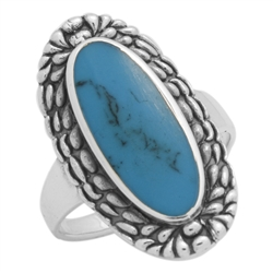 M-R1009-BT Silver Blue Turquoise Long Oval Ring
