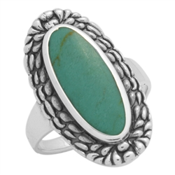 M-R1009-GT Silver Green Turquoise Long Oval Ring