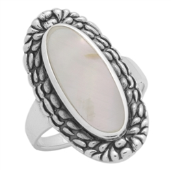 M-R1009-MP Silver Mother of Pearl Long Oval Ring