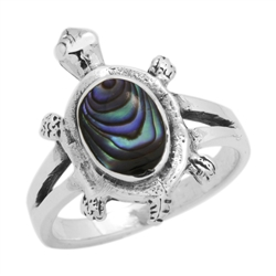 M-R1010-AB Silver Abalone Turtle Ring